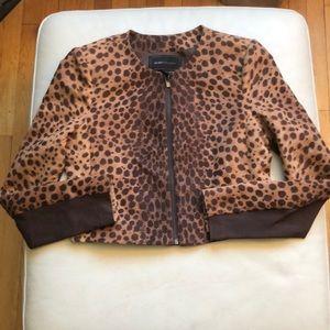 BCBGmaxazria leopard print zip jacket